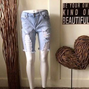 Boom boom Jeans distressed shorts with frayed hem